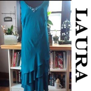Size 16W Laura lined green chiffon dress